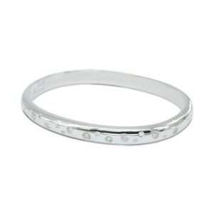 Diamond Silver Hinged Bangle