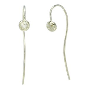 round diamond long ear wire earrings
