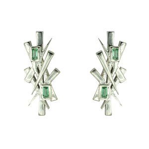 Emerald Abstract Earstuds