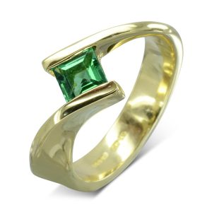 Emerald Gold flat twist Engagement Ring