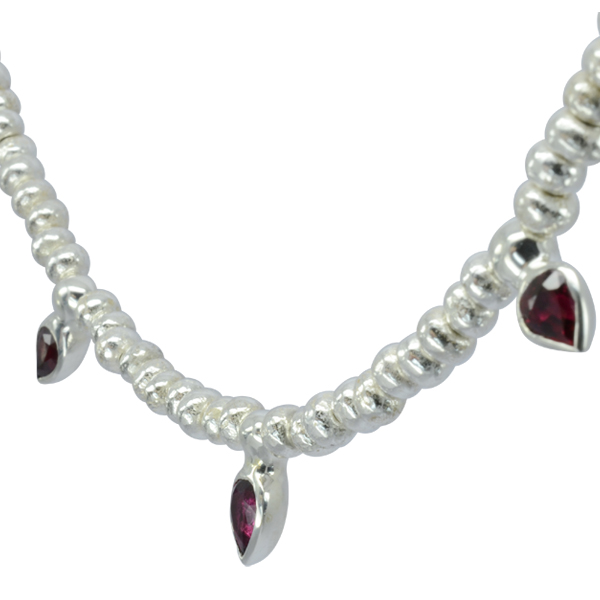 Ruby Drop & Silver Nugget Bead july birthday necklace