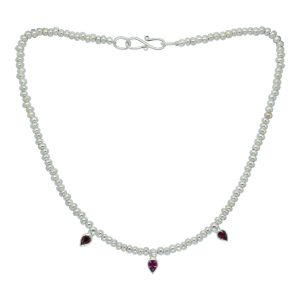 Ruby Drop & Silver Nugget Bead necklace