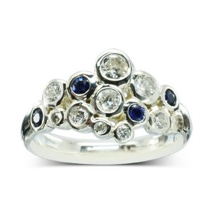 Sapphire Diamond Bubbles Cluster Ring
