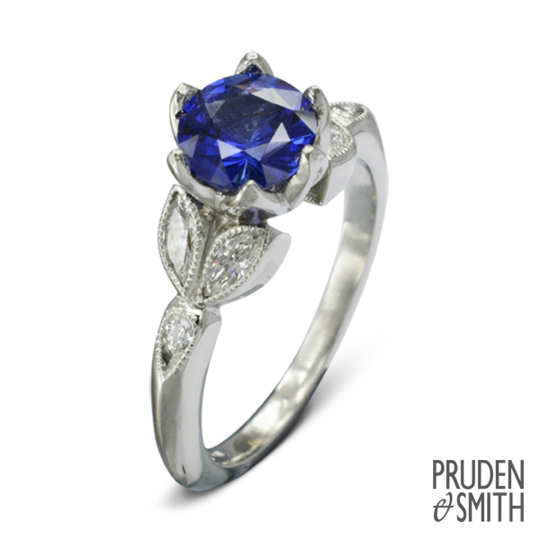 Dutch Tulip Sapphire Engagement Ring