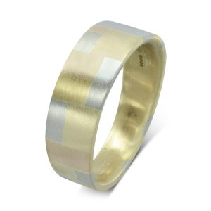 Three colour Gold Patchwork Wedding band