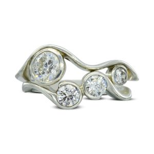 Organic Two Strand Diamond Bubbles Dress Ring