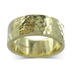 Wide hammered gold Wedding Band