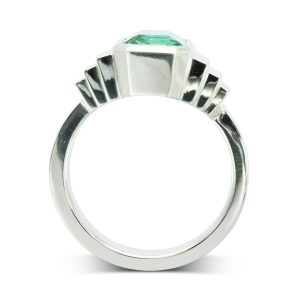 Emerald Art deco inspired Dress ring