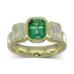 Gold Emerald Diamond Trilogy Ring
