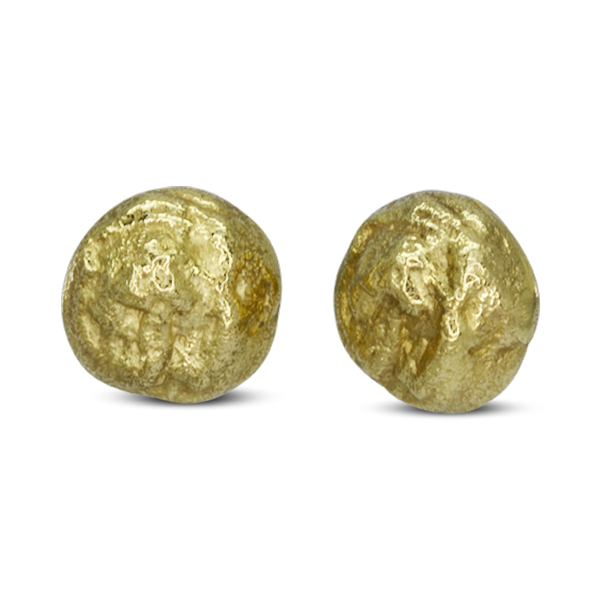 Large Gold Nugget Ear Studs