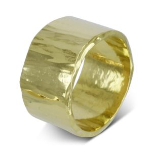 Wide Gold Side Hammered Wedding Ring