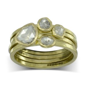 rough hammered rose cut diamond stacking rings