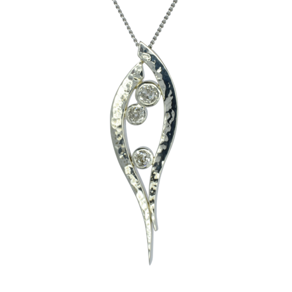 three diamond forged pendant