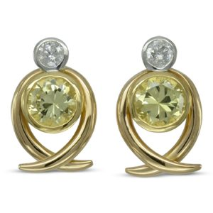 yellow sapphire diamond spiky earrings