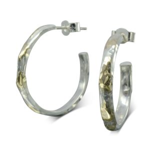 Gold and Silver Hammered earhoops