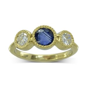 Vintage Sapphire Diamond Trilogy Engagement Ring