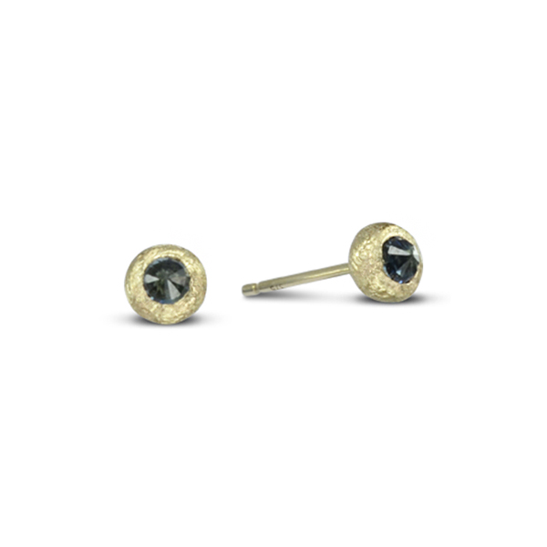 reverse set sapphire gold nugget earstuds Redesigning Old Jewellery of Sentimental Value