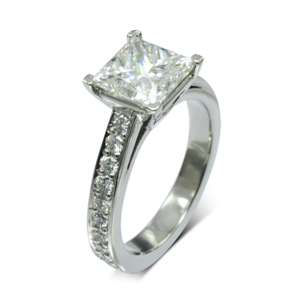 four claw pave set princess cut diamond engagement ring
