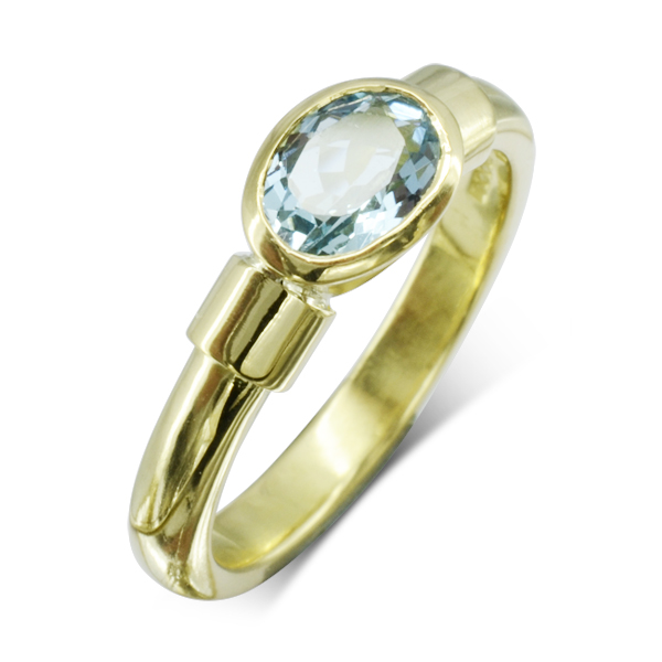 Gold Aquamarine Shoulder Ring