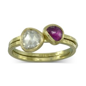 rough hammered rose cut ruby stacking rings
