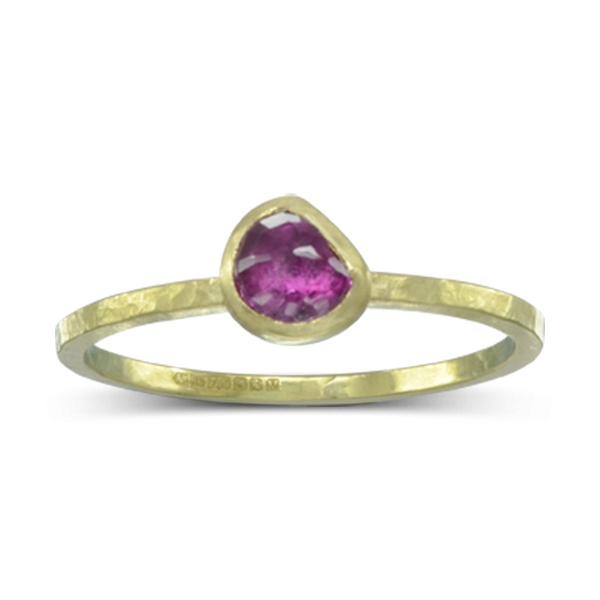 Gold Rose Cut Ruby Ring
