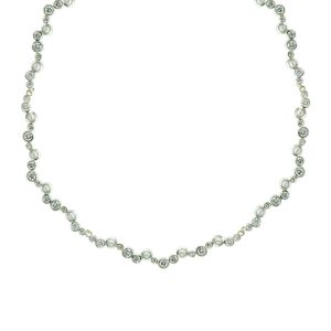 Pearl Diamond Offset Bubbles Necklace