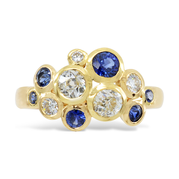 """Christmas Jewellery Commissions Reusing Gemstones: Diamond Sapphire Ring """"Bubble"""" 18ct Gold"""