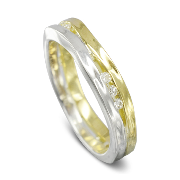 Two Colour Recycled Diamond Trap Ring