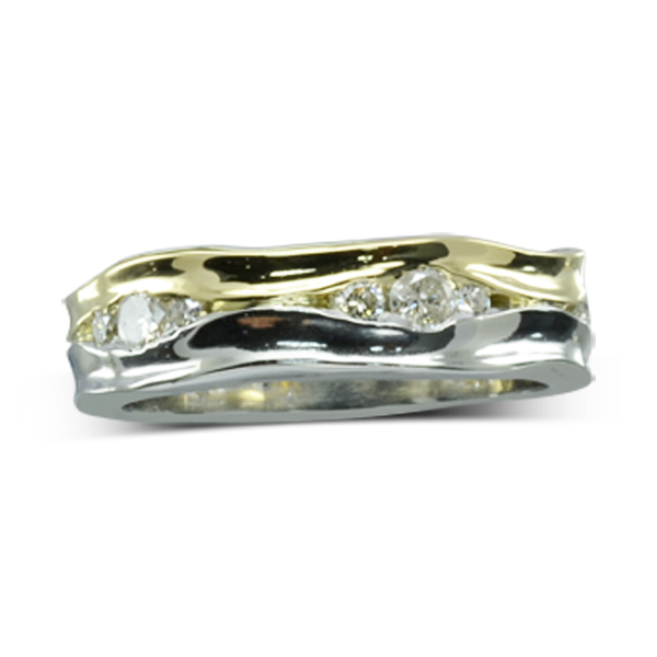 Two colour gold hammered Diamond partnership Ring bespoke sussex
