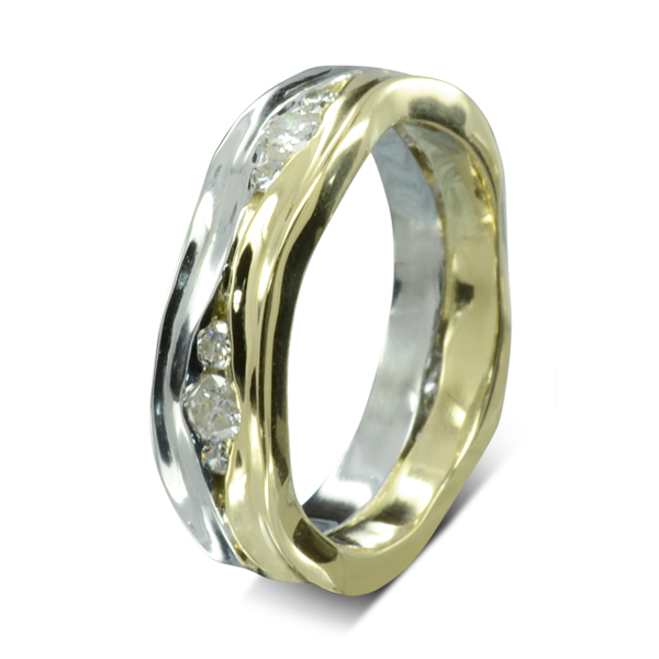 Two Colour gold Diamond Trap Eternity Ring