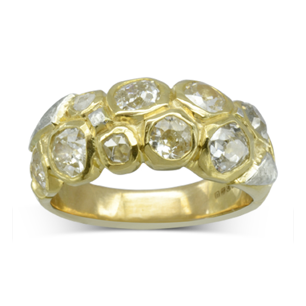 Unusual Gold Eternity Rings with old cut diamonds