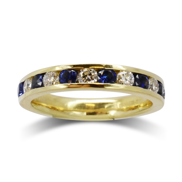 gold sapphire and diamond eternity ring