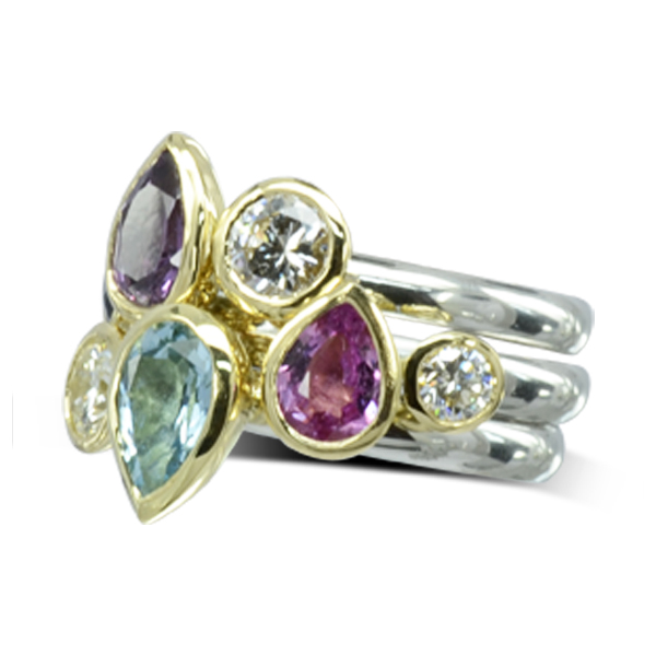 Multi Coloured Sapphire Stacking Ring unusual bespoke jewellery