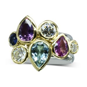 Multi Coloured Sapphire Stacking Ring