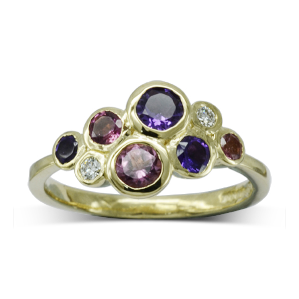 colourful gold cluster ring