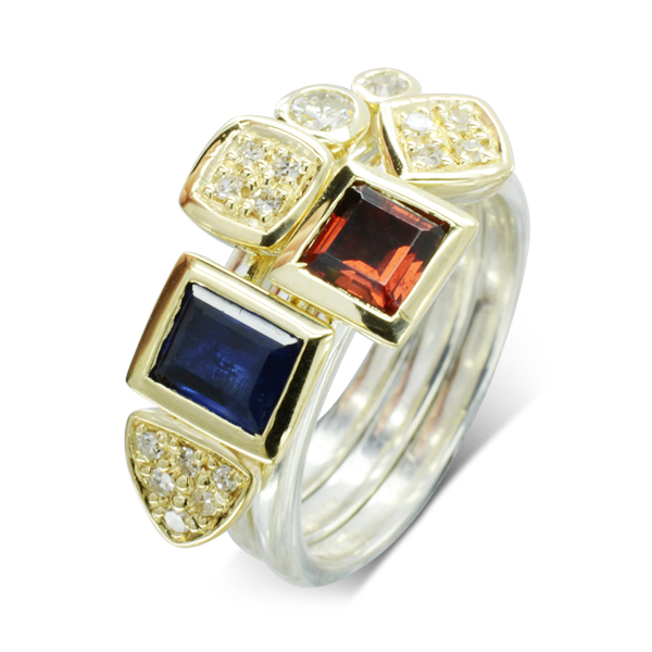 Sapphire Ruby Pave Set Stacking Ring