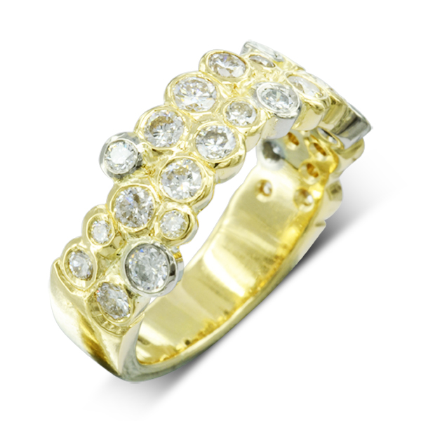Two Colour Diamond Two Row bubbles eternity ring