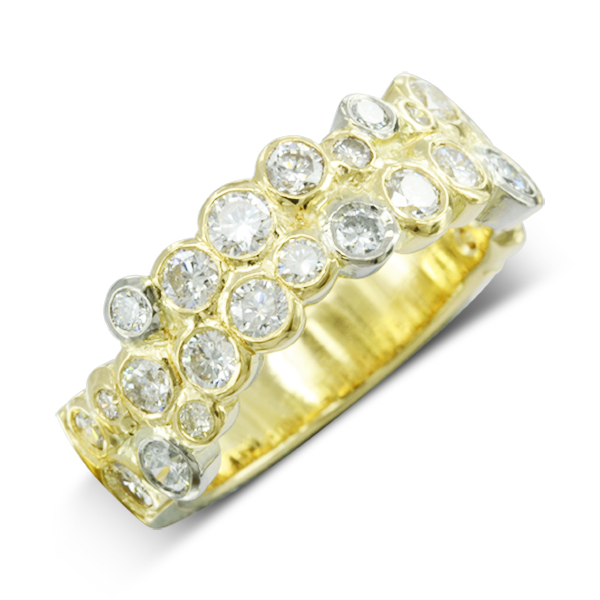 Two Colour Diamond Two Row bubbles eternity ring bespoke sussex unusual creative bespoke sussex