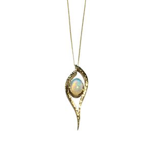 opal forged gold pendant