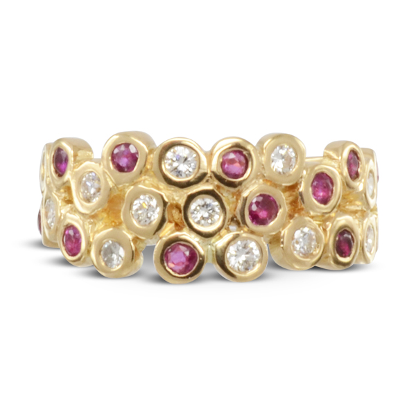 unusual gold ruby and diamond eternity ring