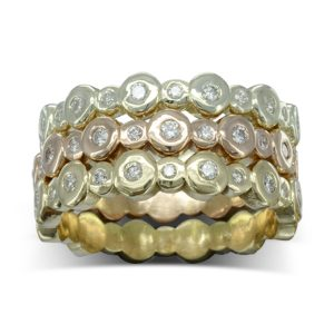 three colour gold nugget diamond stacking eternity rings