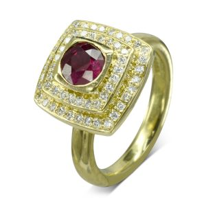 Ruby Diamond Pagoda Cluster Engagement Ring