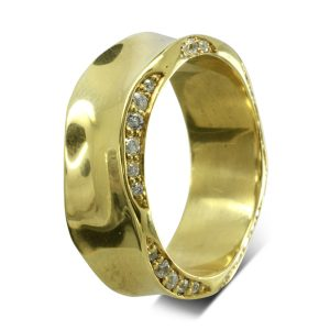 "Side hammered ""On The Edge"" diamond Eternity Ring"