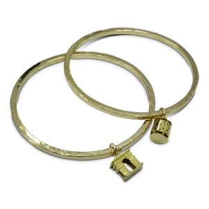 Square gold bangles With Vintage Charms