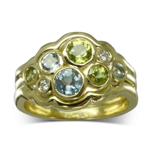 Edged diamond aquamarine bubbles cluster ring Pruden and Smith