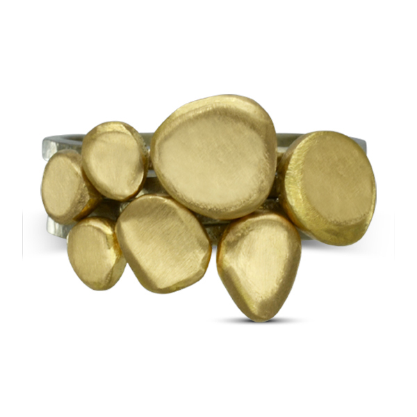 carved gold pebble stacking ring