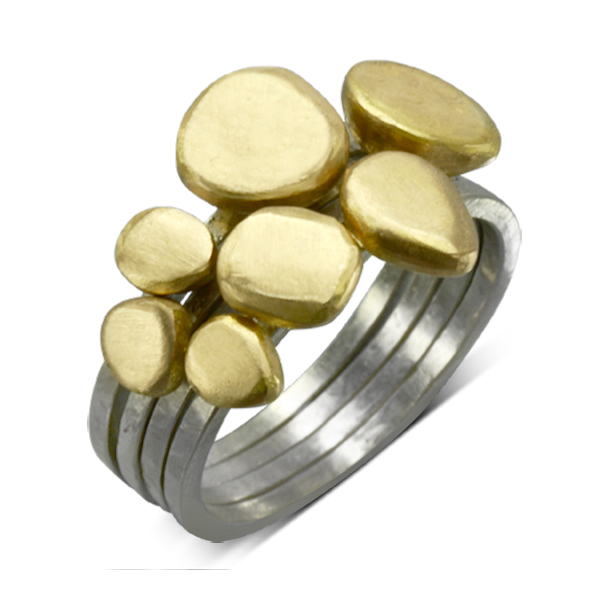 carved gold pebble stacking ring repurposed gold jewellery
