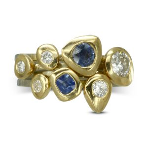 sapphire and diamond stacking rings