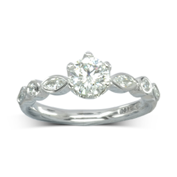 Diamond Solitaire Engagement Ring with Marquise Diamond Band bespoke sussex