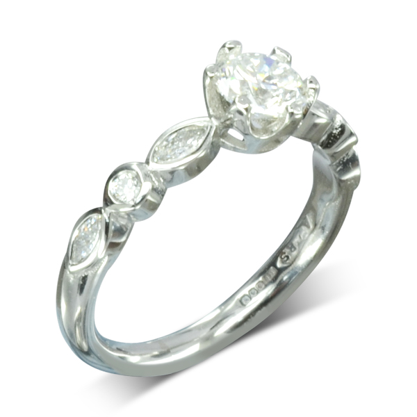 Diamond Solitaire Engagement Ring with Marquise Diamond Band